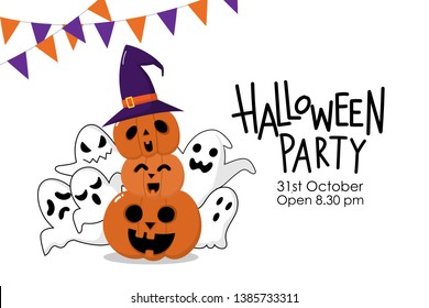Halloween party invitation card with cute spooky ghosts wear witch hat and scary pumpkin . Holidays cartoon character.