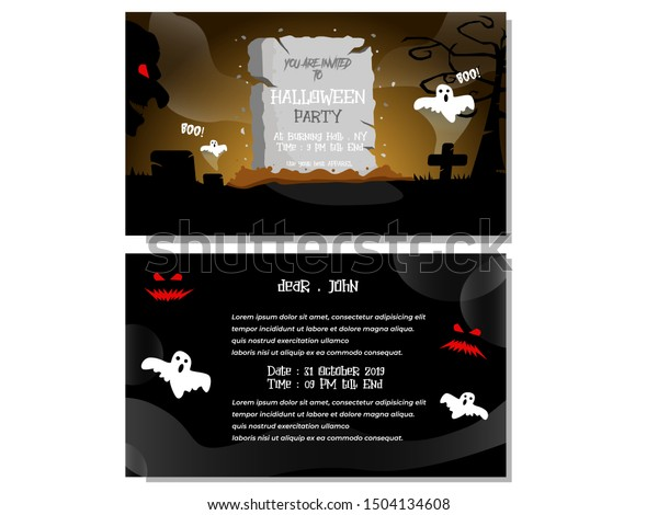 Halloween Party Invitation Card Dark Theme Stock Vector