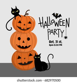Halloween party invitation card for holidays. Pumpkin with black cat cartoon character.