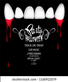 Halloween party invitation card with vampire teeth and blood . Vector Illustration