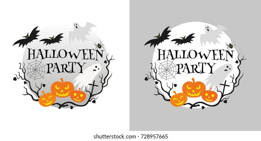 Halloween party invitation card vector illustration