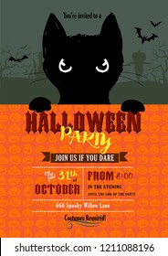 Halloween party invitation with cute little black cat