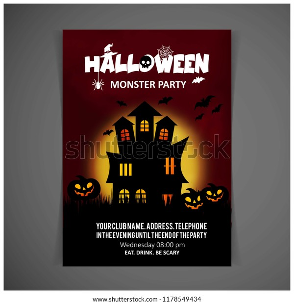 Halloween Party Invitation Design Card Vector Stock Vector ...