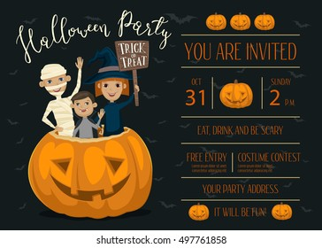 Halloween party invitation design with funny kids in carnival costumes mummy, vampire and witch sitting in pumpkin with sign - Trick or Treat.