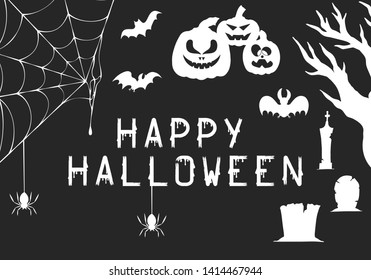 Halloween party invitation flyer or creepy greeting card background. Vector isolated spooky pumpkins, cemetery, spiderweb and graves.