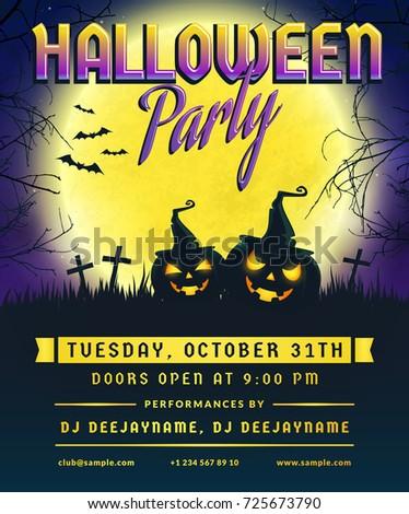 Halloween Party Invitation Flyer Template Full Stock Vector Royalty