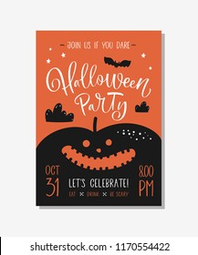 Halloween party invitation or greeting card with handwritten calligraphy.