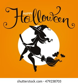 halloween party invitation or greeting card  with attractive witch silhouette and lettering composition, template design