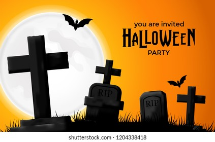 Halloween party invitation with illustration of graveyard and bat at the night
