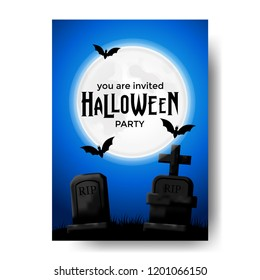 Halloween party invitation with illustration of tomb at the night with bat