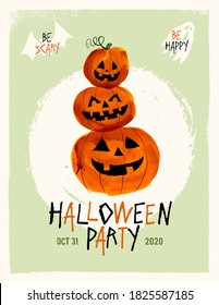 Halloween party invitation, poster or flyer. Vector EPS10 illustration.