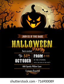 Halloween party invitation with scary pumpkin and a full moon