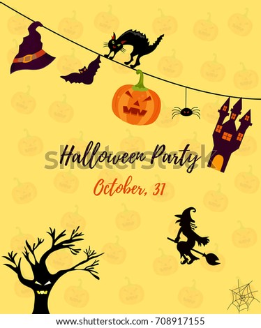 halloween party invitation template halloween background stock