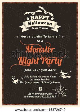 halloween party invitation template card poster flyer stock vector