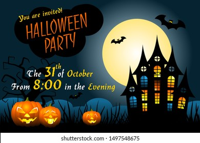 Halloween party invitation template with haunted house, scary pumpkins, bats, ugly trees and full moon.