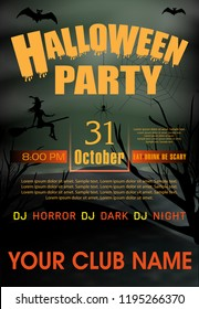 halloween party invitation template holiday background vector illustration