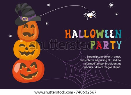 Halloween Party Invitation Template With Pumpkin Lanterns And Place For Your Text