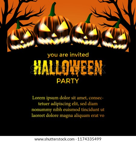 halloween party invitation template scary pumpkin stock vector