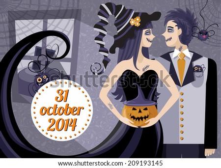 halloween party invitation template stylized illustration stock