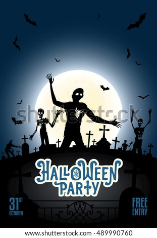 halloween party invitation template zombies bats stock vector