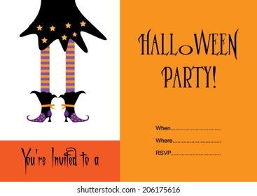 Halloween party invitation with witch.Vector eps10, illustration.