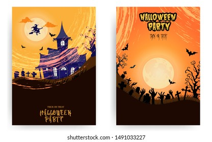 Halloween party invitations or greeting cards