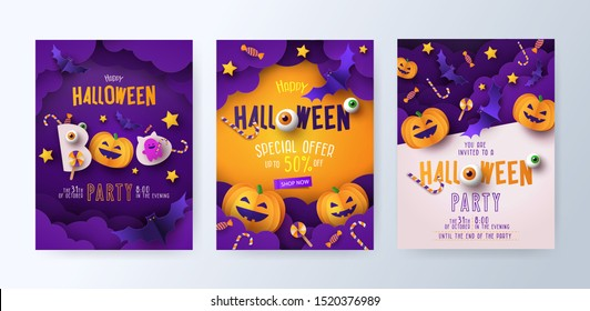 Halloween Party invitations, greeting cards, or posters Set with calligraphy, cutest pumpkins, bats and candy in night clouds. Design template for advertising, web, social media. Paper cut style