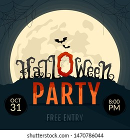 Halloween party invitations. Halloween lettering text on the moonlight background. Vector illustration