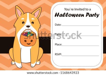 halloween party invite template cartoon welsh stock vector royalty