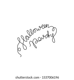 Halloween Party lettering,  continuous line drawing, banner, poster, flyers, marketing, greeting cards, hand lettering, emblem or logo design, one single line on white background, isolated vector.