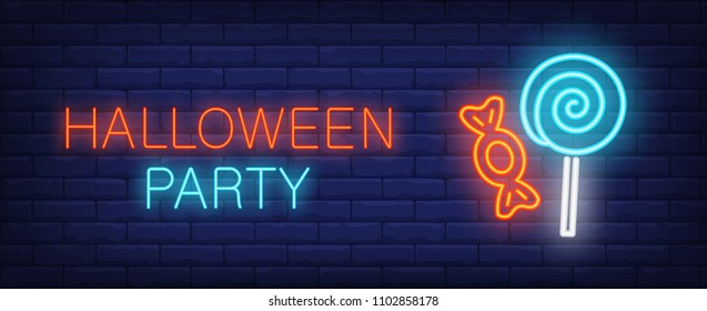 Halloween party neon style banner with treat on brick background. Bright neon candy and lollipop. Holiday, party, shop. Can be used for advertising, street wall sign, invitation