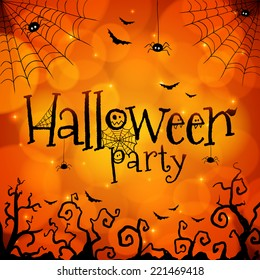 Halloween party orange vector greeting card