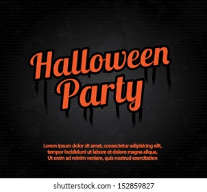 halloween party over orange background vector illustration