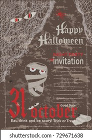 Halloween party poster 31 october, vintage style Vector illustration
