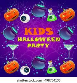 Halloween party poster. banner, flyer,Vector illustration