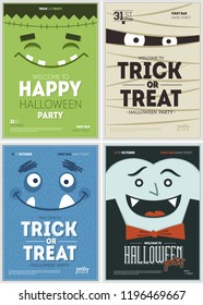 Halloween party poster collection. Halloween design template. Vector illustration