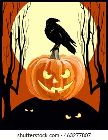 Halloween party poster, flyer, banner. Horror night style card. With pumpkin, crow, moon and other Halloween elements. Vector illustration