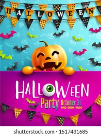Halloween Party Poster with Happy Pumpkin and Garland of triangle flags. Website spooky, Background or banner Halloween template. Vector illustration EPS10