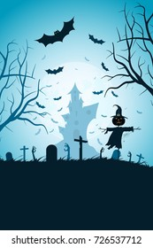 Halloween Party Poster. Holiday Card with Cemetery and Scarecrow and a Haunted House in the Background. Halloween Invitation or Halloween Party Poster Backdrop