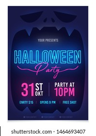 Halloween party poster. Neon sign. Template invitations or greeting cards theme Halloween. Flyers for a night party in the style of Halloween
