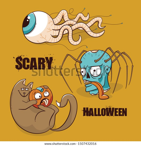 Halloween party poster, scary design of zombie, cat and pumpkin, eye with the worm tentacles