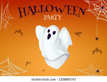 Halloween party poster with scary ghost spooky character vector illustration. Night horror invitation card. Mystery trick or treat phantom dead person spirit. Scary people soul on cob web and spider.