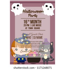 halloween party poster treats pattern stock vector royalty free
