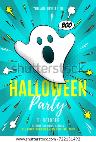 halloween party poster template vector illustration stock vector