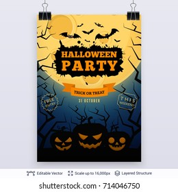 Halloween party poster with text label and illustrations on a background. Moon, black bats, scary pumpkins and dead trees on a dark blue gradient.