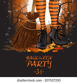 Halloween party poster with witch legs in boots and broomstick