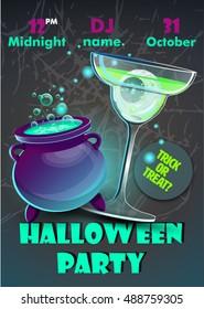 Halloween party poster.Halloween flyer,Vector illustration.trick or treat