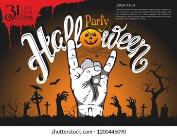 Halloween party posters with event elements: zombie hand, pumpkin, bat