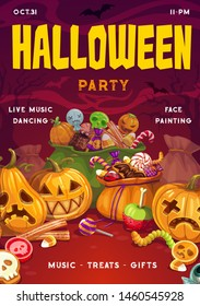 Halloween party, pumpkin lanterns and sacs full of treats. Vector sweet candies and lollipops, jelly worms and eye, horrible trick and treats. Trees and bats silhouettes in dark sky, horror night