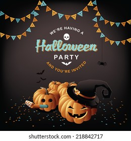 Halloween party pumpkins and confetti EPS 10 vector
